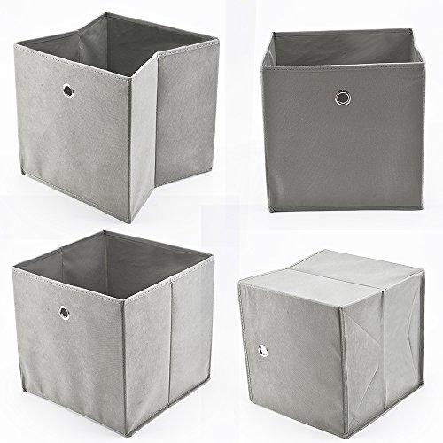 Allright 4 Stück Faltbox Faltbare Aufbewahrungsbox Stoff Faltkiste Grau mit Fingerloch 32 x 32 x 32 cm für Raumteiler oder Regale