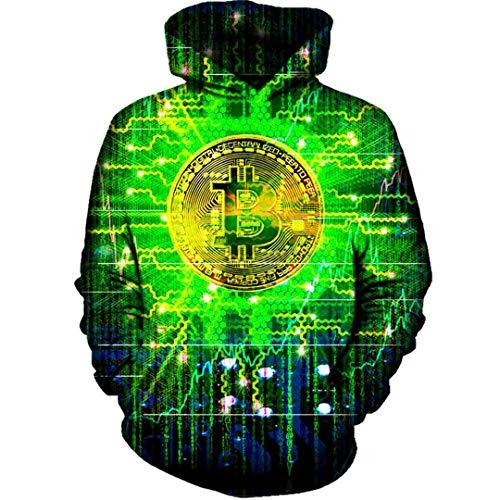 Bitcoin con Capucha Hombres Mujeres Casual 3D Imprimir Sudaderas con Capucha de Hip Hop Sudaderas con Capucha chndales ms el tamao 3D Hoodie S