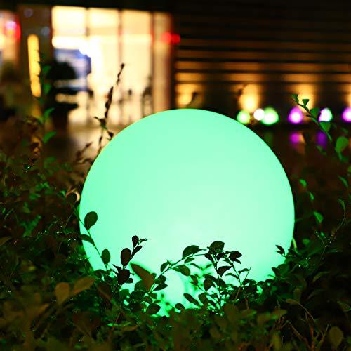 Aimosen RGB Kugellampe Außen LED Solarladen Lampe, Dimmbar Bunt Nachtlicht Ball 16 Farben, 1200mAh USB Aufladbar Runden Rasenlampe für Hinterhof Garten Teich Dekoration, Wasserdichte Große Größe 30cm