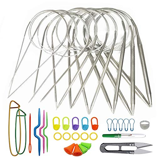 Nsiwem Aiguille à Tricoter Circulaire 80 cm 9 Pièces Aiguilles Circulaires à Tricoter en Acier Inoxydable Set épingles à Aiguilles avec Tricot Outils 1.5mm à 8mm pour Projet De Tissage