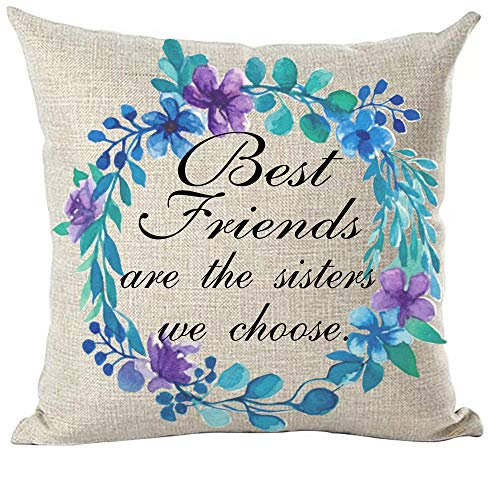 ramirar Black Word Quote Best Friends are The Sisters We Choose Blue Purple Flower Round Decorative Throw Pillow Cover Case Cushion Home Living Room Bed Sofa Car Cotton Linen Square 18 x 18 Inches