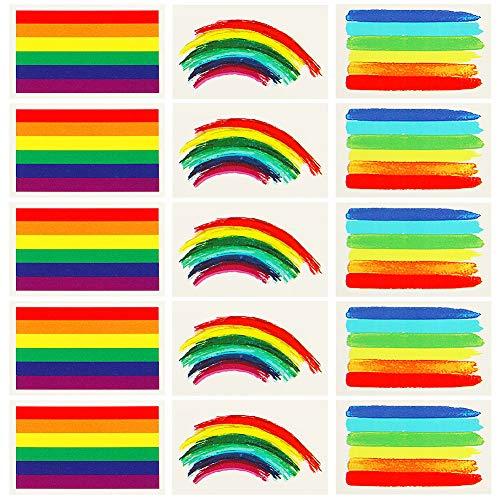 VAMEI 24pcs Tatuaggi Temporanei Gay Pride LGBT Accessori Stickers Rainbow Flag Bandiera lgbt Body Tattoo
