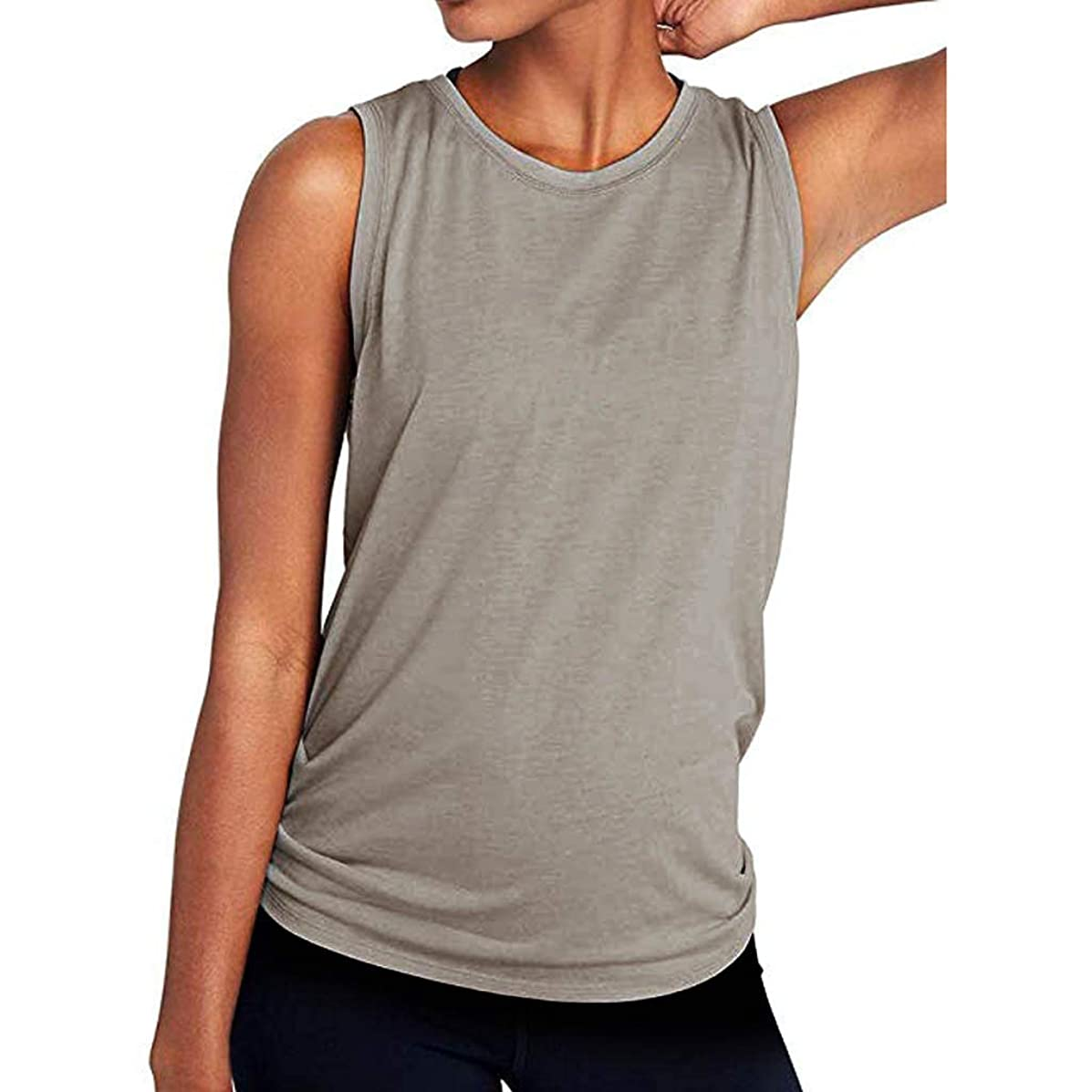 Aotifu Yoga Camisoles T-Shirts Workout Tops Shirts Sexy Mesh Tops Exercise Sports Activewear Cute Open Back (Black,XL)