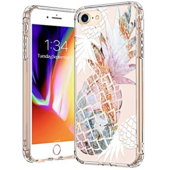 BICOL iPhone SE2 Case 2020,iPhone 7 Case,iPhone 8 Case,Marble Pineapples Pattern Clear with Design Protective Phone Case Cover for Apple iPhone 7/iPhone 8/iPhone SE2