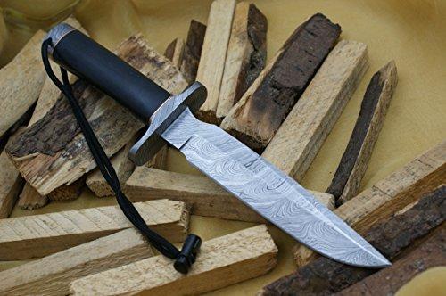 Cuchillo King Premium Model 1 Custom Damasco Cuchillo de caza mango negro Micarta