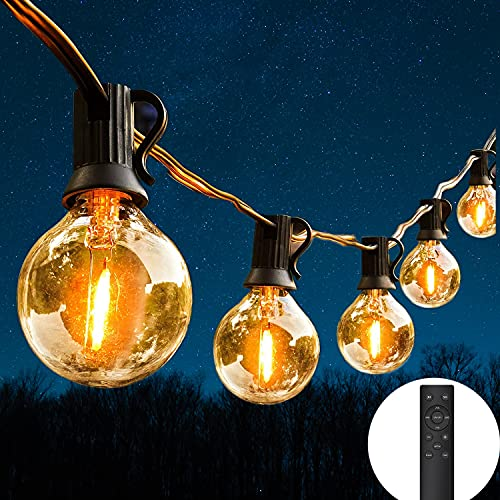 LED String Lights Remote Control, 100Ft Festoon Lights Mains Powered with 50+2 Shatterproof G40 Bulbs, IP45 Waterproof Outdoor Garden String Light for Patio Party Wedding Cafe, Warm White