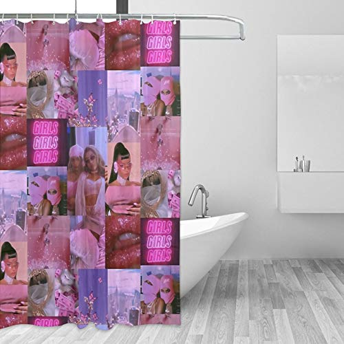 y2k Aesthetic Pink Collage Anti-Mold Shower Curtain with Hooks Fashion Waterproof Bathroom Curtain