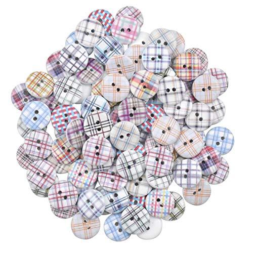 Botones para Coser 100 piezas Manualidades Botón Redondo Decorativo Vintage para Niños Botones de Costura Surtidos para Manualidades Tejer Contando 15 mm