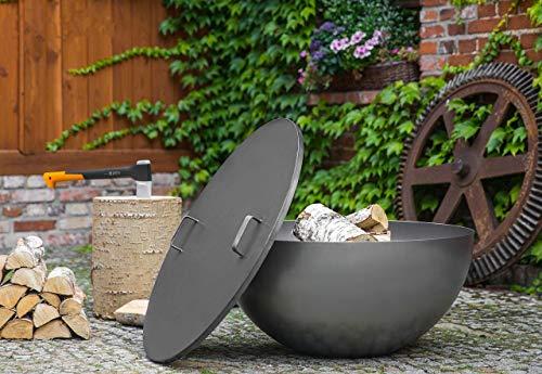 BlackOrange Designer Feuerschale Moon Ø 85 cm mit passendem stabilen Deckel Ø 86,5 cm und 2 Haltegriffen