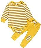 Carolilly - Conjunto de bebé unisex de manga larga + pantalón pijama infantil para otoño e invierno (0-24 meses) amarillo 12- 18 meses