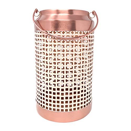 LaLe Living metallic lantaarn - Lamba - van ijzer in goud/abrikoos, Ø12,5x21,5 cm als decoratie voor het terras, balkon of tuin