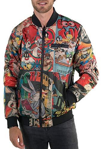 Members Only Men's Looney Tunes Vintage Mash Print Jacket-Black M
