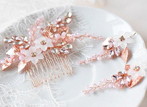 Kercisbeauty kercisbeauty Hochzeit Braut Brautjungfern Kristall Weiß Vintage Pink Blume Stirnband Brautschmuck Haarschmuck Haarkamm mit Ein Paar Ohrringe