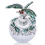 YU FENG Botella de perfume de cristal vacía decorativa de 40 ml con tapón de libélula verde con diamantes de imitación Bejeweled rellenable botella de aceite esencial
