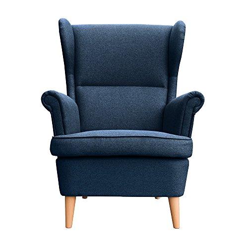 myHomery Sessel Luccy gepolstert - Ohrensessel Polsterstuhl für Esszimmer & Wohnzimmer - Lounge Sessel mit Armlehnen - Eleganter Retro Stuhl aus Stoff mit Holz Füßen - Navy Blue | Sessel