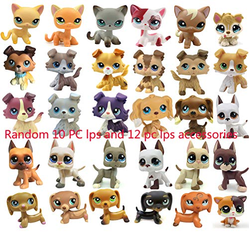 LPSXIE LPS Random Surprise Grab Bag 10 Pets& 12 LPS Accesories Lot Bobble-Head LPS Cat and Dog Figures Collection Boys Girls Kids Gift