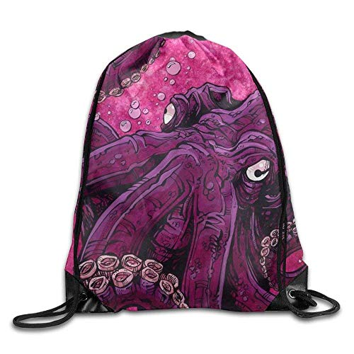 Yuanmeiju Waterproof Drawstring Backpack for Men & Women Gym School Travel Purple Octopus Underwater Theme