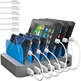Hercules Tuff Charging Station for Multiple Devices (Silver) - 6 Short Type-C and Micro USB Cables Included for Cell Phones, Smart Phones, Tablets, and Other Electronics