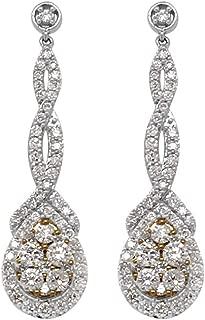 AGS Certified Diamond Swirl Tear Drop Dangling Earrings (I1-I2, G-H) 1.50 ctw 10K White Gold