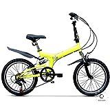 MTTKTTBD Compacto Bicicleta Plegable,Adulto Folding Bike,6 Velocidades 20 Pulgadas,Doble Freno de Disco para Montar en la Ciudad,Portable First Class Urbana Bici Plegable
