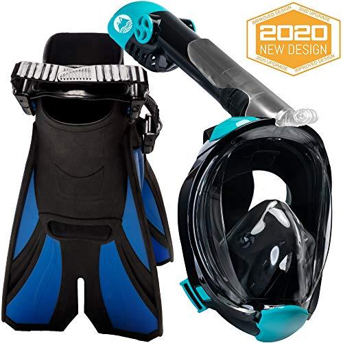 cozia design Snorkel Set with Full Face Snorkel Mask and Travel Adjustable Swim Fins (Black, Large/X Large)