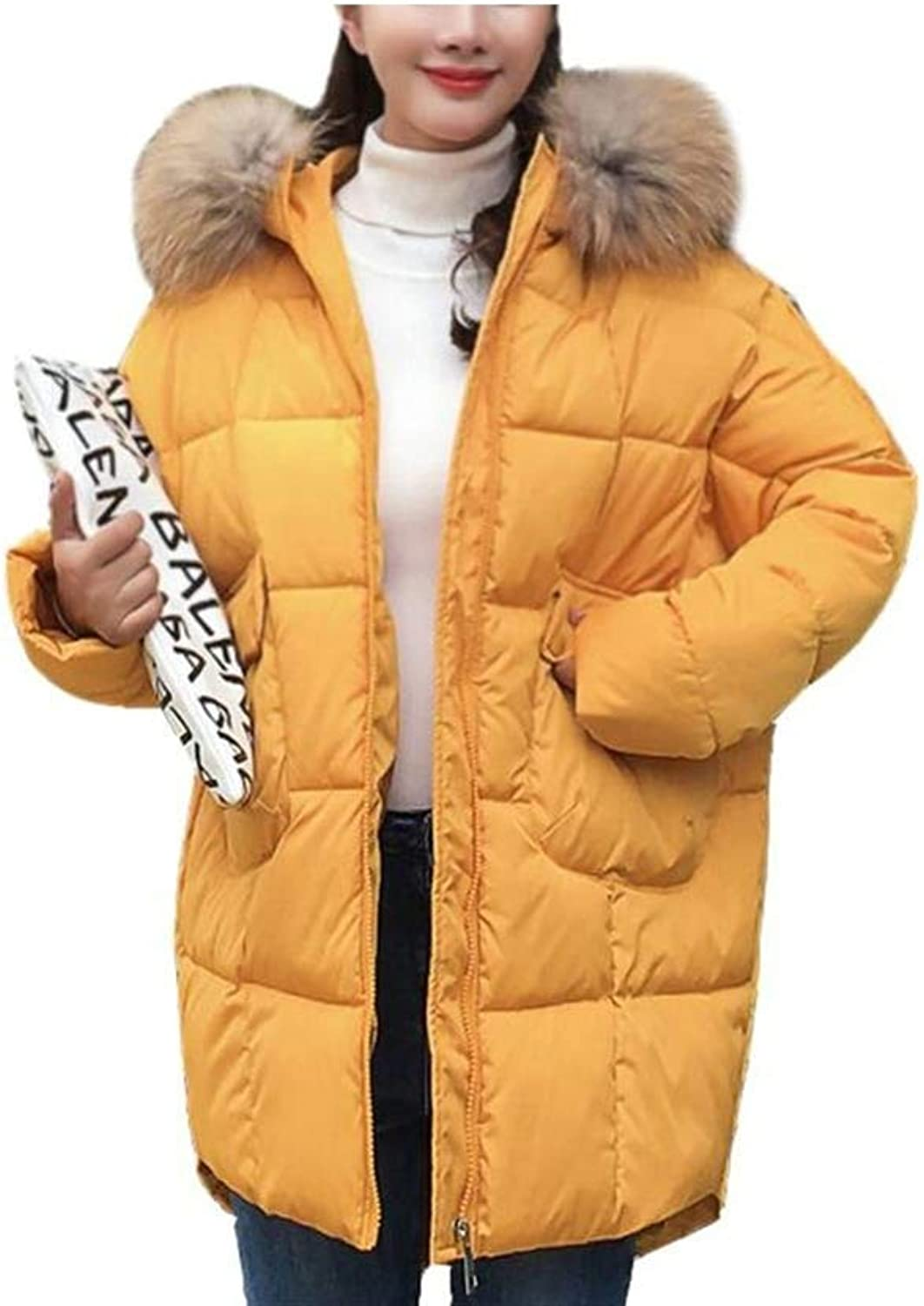 Dotoo Winter Women's Cotton Coat Long Loose Cotton Quilted Collar Cotton Coat