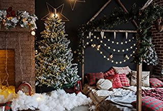 Baocicco Vintage Room Interior Christmas Decoration Backdrop 8x6ft Photography Background Brick Wall Bed Pillows Christmas Tree Star Pendant Light Curtain New Year Festival