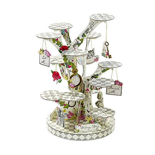 """Talking Tables Alice in Wonderland Cupcake Stand Centrepiece Mad Hatter Tea Party, Paper, Mixed Colours, Height 59cm, 23"""""""
