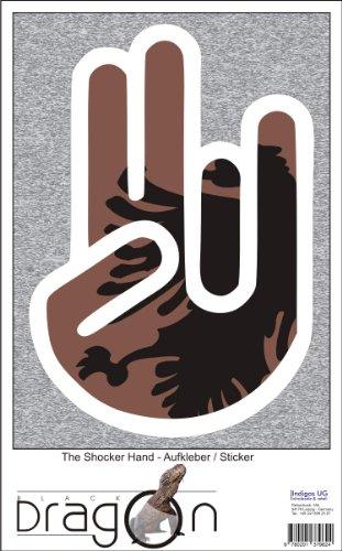 THE SHOCKER HAND - Wandtattoo / Wandaufkleber/ Aufkleber - weißer Umriss mit Fahne / Flagge - Albania-Albanien 40 cm