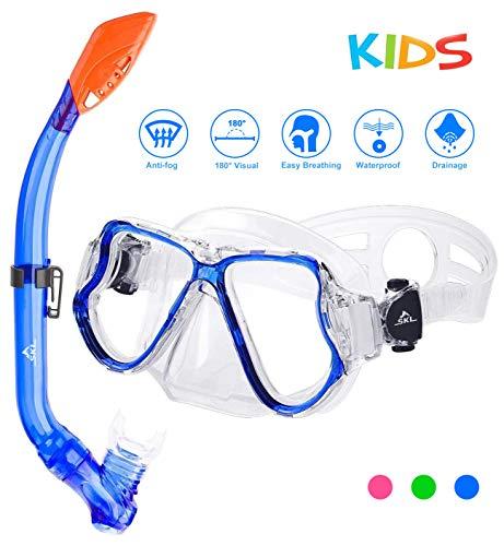 SKL Taucherbrille mit Schnorchel Schnorchelset Kinder Tauchset aus Gehärtetem Glas Anti-Leck Anti-Fog, ideal für Tauchen, Schnorcheln und Schwimmen, Kinder Tauchset Blau