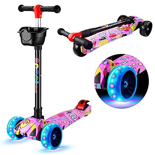Joyhoop Patinete infantil plegable con 3 ruedas con cesta extraíble y luces de poliuretano, diseño colorido inglés de grafiti para niñas de 3 a 12 años (con molino de viento y cinta)