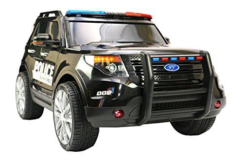 ES-TOYS Kinderfahrzeug - Elektro Auto US Police SUV - 12V7AH Akku,2 Motoren- 2,4Ghz Fernsteuerung, MP3, Sirene und Megaphone + Eva Reifen und Ledersitz