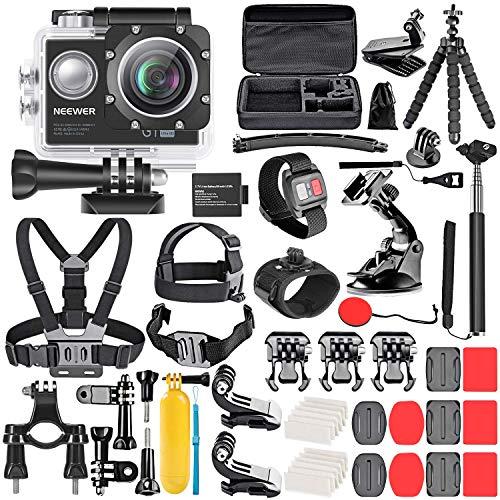 Neewer G1 Ultra HD 4K 12 MP Kit d'Appareil Photo d'action Étanche sous-Marine à 30m 170 Degrés à Grand Angle WiFi Sports Caméra Capteur High-Tech avec 50-en-1 Kit d'Accessoires de Caméra d'action