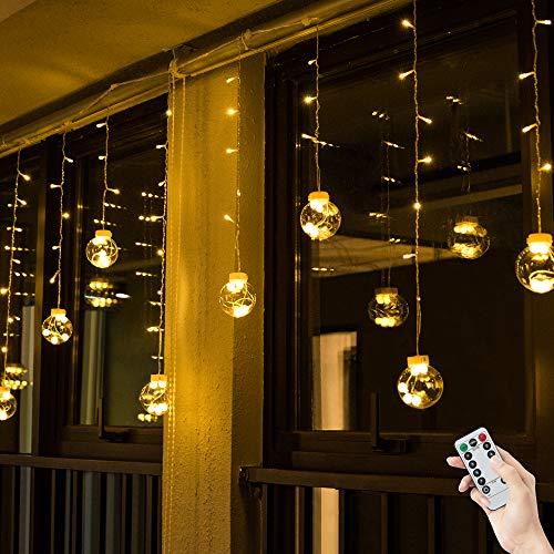 BLOOMWIN Catena Luminosa, LED Luci Stringa USB 12 Palle di Vetro 3mx0.65m 8 Modalità con Telecomando e Ganci per Natale Festa Matrimonio Compleanno Bianco caldo