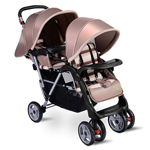Find Discount 3 Color Foldable Twin Baby Double Stroller (Beige)