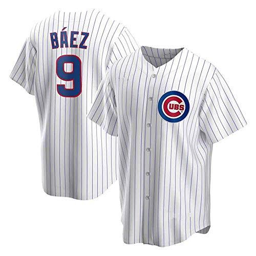 GMRZ MLB T-Shirt Für Herren, Baseball Trikot Mit Chicago Cubs # 9 Baez Logo Design Major League Baseball Team Sportbekleidung Fans Jersey Bestickte Shirt Top Kurzarm Unisex,Weiß,XL