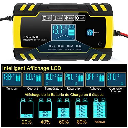 InThoor Chargeur de Batterie Intelligent 12V/24V 8A, 3 Étape