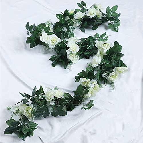 HEY M&Q Künstliche Rosenranken, 10 Köpfe, künstliche Rosengirlanden für Zuhause, Hotel, Hochzeit, Party, Garten, Kunst, Dekoration, Weiß, 3 Stück