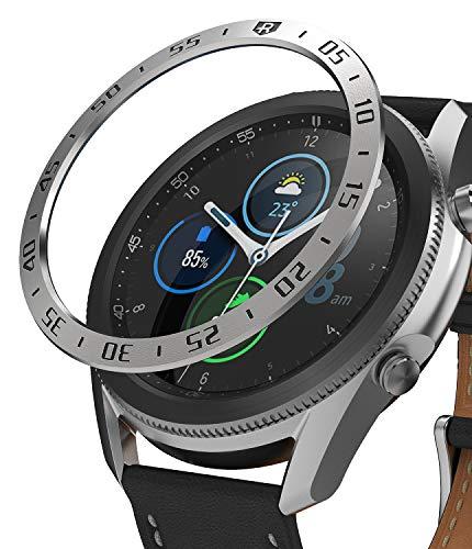 Ringke Bezel Styling für Galaxy Watch 3 45mm Hülle, Lünette Ring Kleber Abdeckung Kratzfest Edelstahl Schutz für Galaxy Watch3 Zubehör - Silver [45-01]