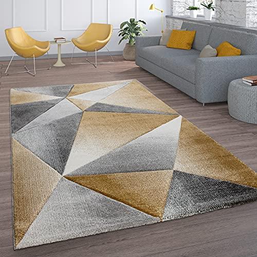 Paco Home Teppich Wohnzimmer Kurzflor Modernes Geometrisches Rauten Muster Mit 3D Optik, Grösse:80x150 cm, Farbe:Gelb