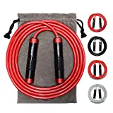 Weighted Jump Rope - Heavy Jump Ropes with Adjustable Extra Thick Cable, Aluminum Silicone Grips Handles, High-Speed Ball Bearings, Premium Skipping Rope for Workouts Crossfit Home Fitness MMA & Gym