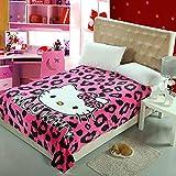 Anjos Cartoon Hello Kitty Pink Leopard Print Coral Fleece Blanket Throws Bedspread Sheet Super Soft Microfiber Polyester Print