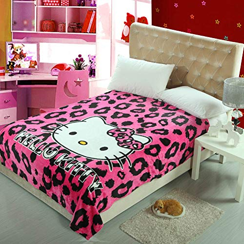 Papa&Mima Cartoon Hello Kitty Pink Leopard Print Coral Fleece Blanket Throws Bedspread Sheet Super Soft Microfiber Polyester Print