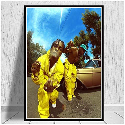 chtshjdtb New Tyler The Creator ASAP Rocky Rap Musikalbum Star Poster Drucke Kunst Leinwand Malerei Wandbilder Wohnzimmer Wohnkultur -60x90cm Kein Rahmen