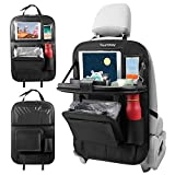 Tsumbay Car Back Seat Organizer with Trash Can PU Leather Car Storage Organizer with Foldable Table Tray,Touch Screen Tablet Holder,Car Back Seat Protectors Kick Mats -1 Piece