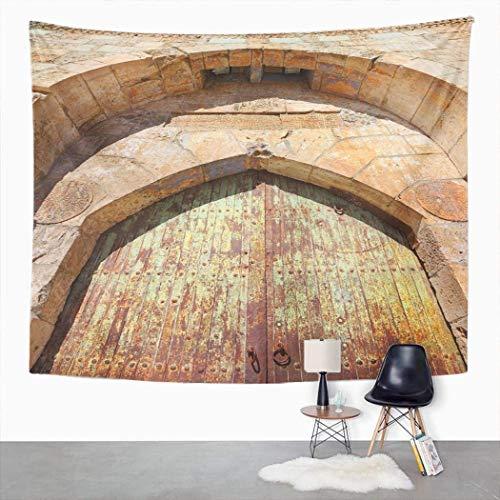Tapiz de arco antiguo, puerta arquitectónica de Davids torre ciudadela hogar dormitorio tapiz decorativo grande, manta para colgar en la pared para sala de estar, dormitorio, 203 x 152 cm
