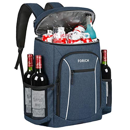 FORICH Insulated Cooler Backpack Lightweight Soft Cooler Bag Leakproof Backpack Cooler for Men Women to Lunch Work Picnic Beach Camping Hiking Park Day Trips, 30 Cans (Blue)