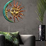 Luckycyc Iron Art Sun Moon Decor, Metal Celestial Wall Art Decor Sun Moon and Stars Wall Decor Hanging Sign Wall Plaque Sculpture for Indoors Outdoors with Finish, 19.5x14.8x2.4 Inches