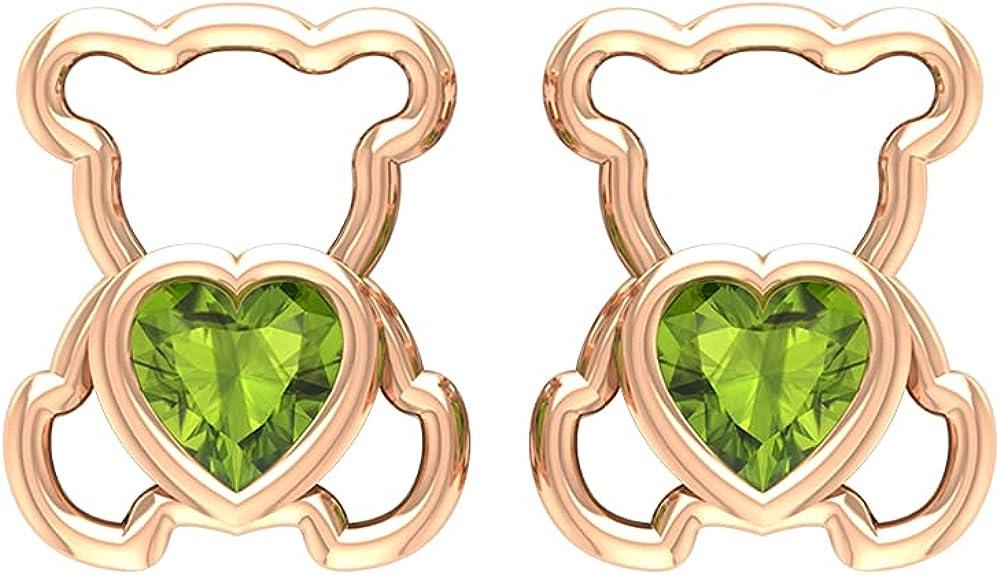 1/2 CT Teddy Bear Stud Earrings with Heart Cut Peridot (AAA Quality),14K Solid Gold,Peridot