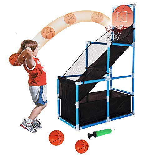 Tuko Toddler Basketball Hoop Arcade Board Game Toy - Kids Toys Outdoor Indoor Basketball Shooting Training System with Basketball for 3+ Years Old Boy Gift (Basketball Hoop)